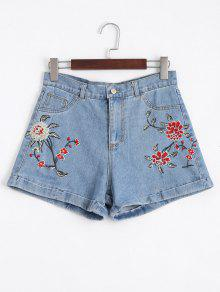 Floral Embroidered High Waisted Jean Shorts