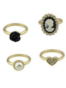 Rhinestone Flower Heart Cameo Ring Set - Golden 8