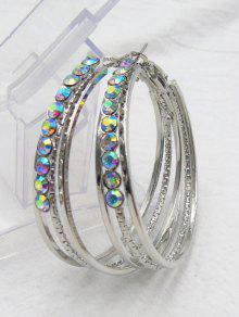 Rhinestone Metal Alloy Circle Hoop Earrings - Silver