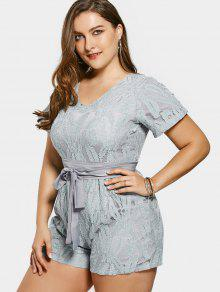 Belted Plus Size Lace Romper - Sage Green 4xl