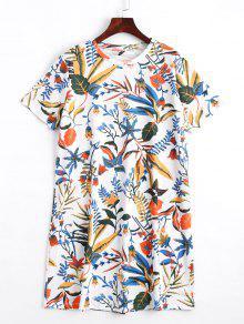 Short Sleeve Floral Shift Mini Dress - Floral S