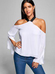Slit Sleeve Cold Shoulder Blouse - White 2xl