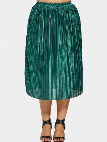 Pleated Plus Size Midi Skirt - Green 2xl