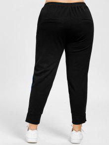 77c4eecd845 35% OFF  2019 Plus Size Striped Elastic Waist Pants In BLACK 5XL