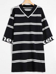 فستان محبوك مخطط انخفاض الكتف - أسود