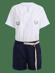 Talla 3xl De Grande Guerra Marina Camisa Cortos Pantalones Bordada De Con Fp7fWvqEw