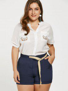 Embroidered Plus Size Shirt With Self Tie Shorts - Deep Blue 5xl