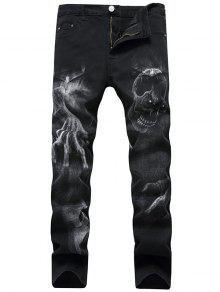 جينز بسحاب بنمط الجمجمة - أسود 34