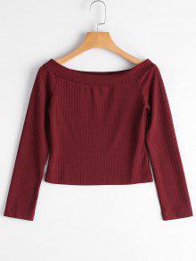 Ribbed Off Shoulder Crop Tee - Wine Red L
