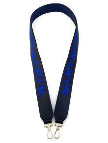 Embroidery Floral Shoulder Strap Bag Accessory - Purplish Blue
