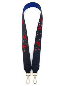 Embroidery Flower Shoulder Strap Bag Accessory - Purplish Blue
