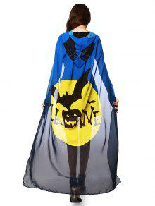 Chiffon Halloween Witch Element Festival Hooded Cape - Blue And Yellow