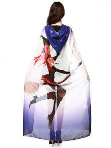 Chiffon Halloween Witch Element Festival Hooded Cape - Purple
