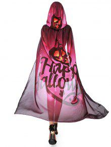 Chiffon Halloween Witch Element Festival Hooded Cape - Purplish Red