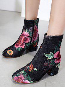 a90437764d88 34% OFF  2019 Velvet Block Heel Floral Pattern Short Boots In BLACK ...