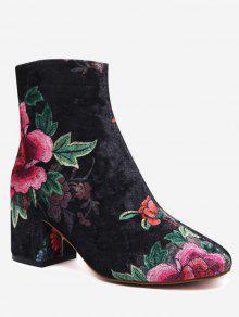 Velvet Block Heel Floral Pattern Short Boots - Black 40