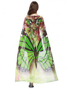 Chiffon Butterfly Design Festival Hooded Cape - Green