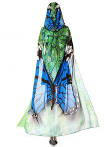 Chiffon Butterfly Design Festival Hooded Cape - Blue