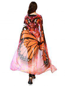 Chiffon Butterfly Design Festival Hooded Cape - Orange
