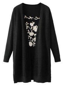 Long Open Front Embroidered Cardigan - Black