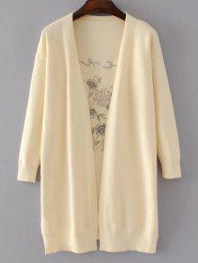 Long Open Front Embroidered Cardigan - Light Beige