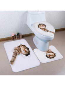 3d كسر ورقة القط نمط 3 قطع المرحاض حصيرة حمام حصيرة - أبيض