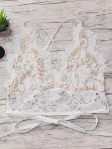 Crisscross Scalloped Lace Bralette - Weiß S