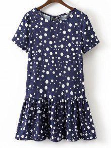 Flounces Bowknot Polka Dot Mini Dress - Purplish Blue S