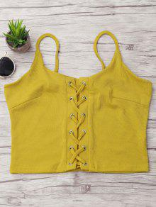 Ribbed Lace-up Camis - Yellow S