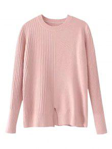 Loose Front Slit Crew Neck Sweater - Pink