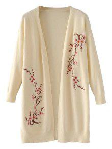 Long Open Front Floral Embroidered Cardigan - Light Beige