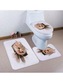 القط كسر ورقة نمط 3d 3 قطع المرحاض حصيرة حمام حصيرة - أبيض