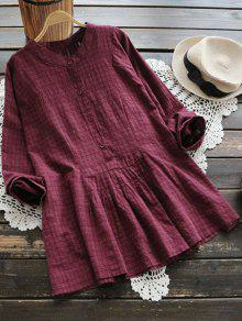 Oversized Long Sleeve Checked Blouse - Dark Red