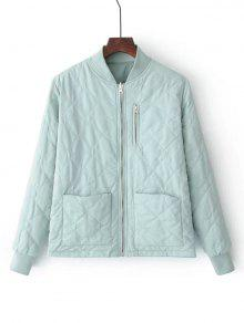 Zip Up Padded Jacket With Pockets - Light Green S