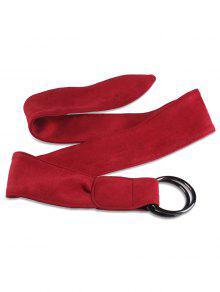فو الجلد المدبوغ المعادن مزدوجة جولة مشبك حزام - أحمر