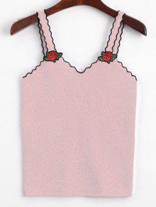 V Cuello Floral Parcheado Punto Tank Top - Rosa