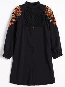 Robe Chemise Brodée Florale à Empiècement En Dentelle - Noir L