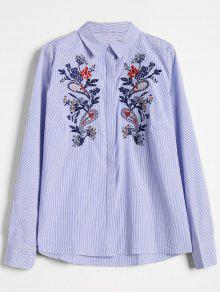 Stripes Button Down Embroidered Shirt - Stripe L