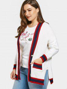 Plus Size Color Block Cardigan - White