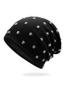 صغيرة الجمجمة برشام مزين قبعة صغيرة - أسود + فضي