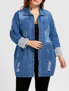 ممزق الدينيم زائد حجم معطف طويل - أزرق 4xl
