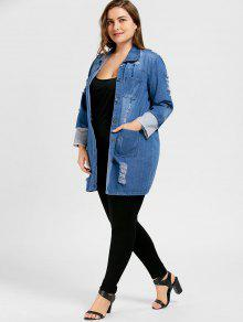 89fd759a12e 61% OFF  2019 Ripped Denim Plus Size Longline Coat In BLUE 4XL