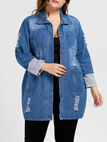 ممزق الدينيم زائد حجم معطف طويل - أزرق 5xl