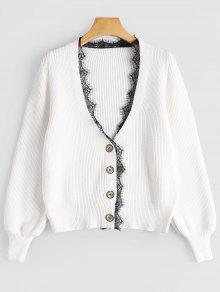 Lace Hem Lantern Sleeve Cardigan - White