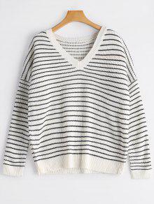 V Neck Drop Shoulder Striped Sweater - White