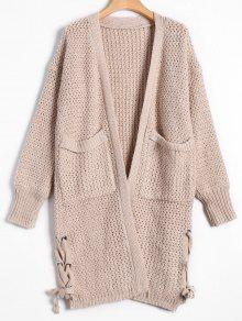 Open Front Lace Up Cardigan With Pockets - Apricot