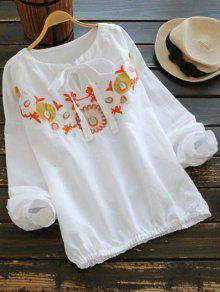 Floral Embroidered Bow Tie Blouse - White