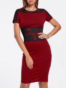 الدانتيل إدراج فستان رصاص - نبيذ أحمر 2xl