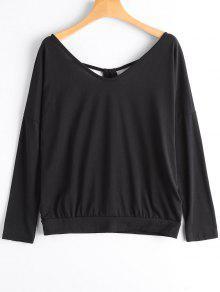 Cortar La Espalda Trasera V Cuello Camiseta - Negro S