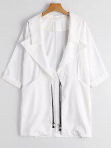 Lapel Open Front Trench Coat - White Xl